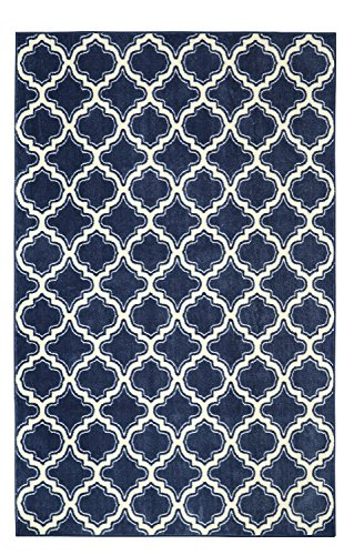 Mohawk Home Aurora Calabasas Uno Navy Geometric Printed Area Rug, 5'x8', Navy Blue