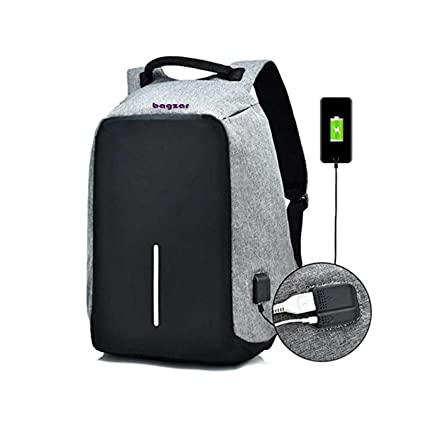 Bagzar Anti-Theft Backpack Water Resistant Travel with External 3.5 mm  Audio Jack and USB 70bd010ed309d