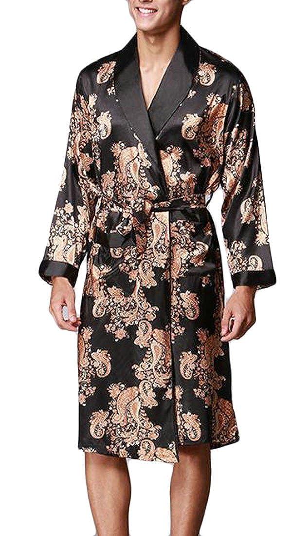 Cromoncent Men Comfort Printed Long Sleeve Satin Sleepwear Lounge Belt Bathrobe Robe