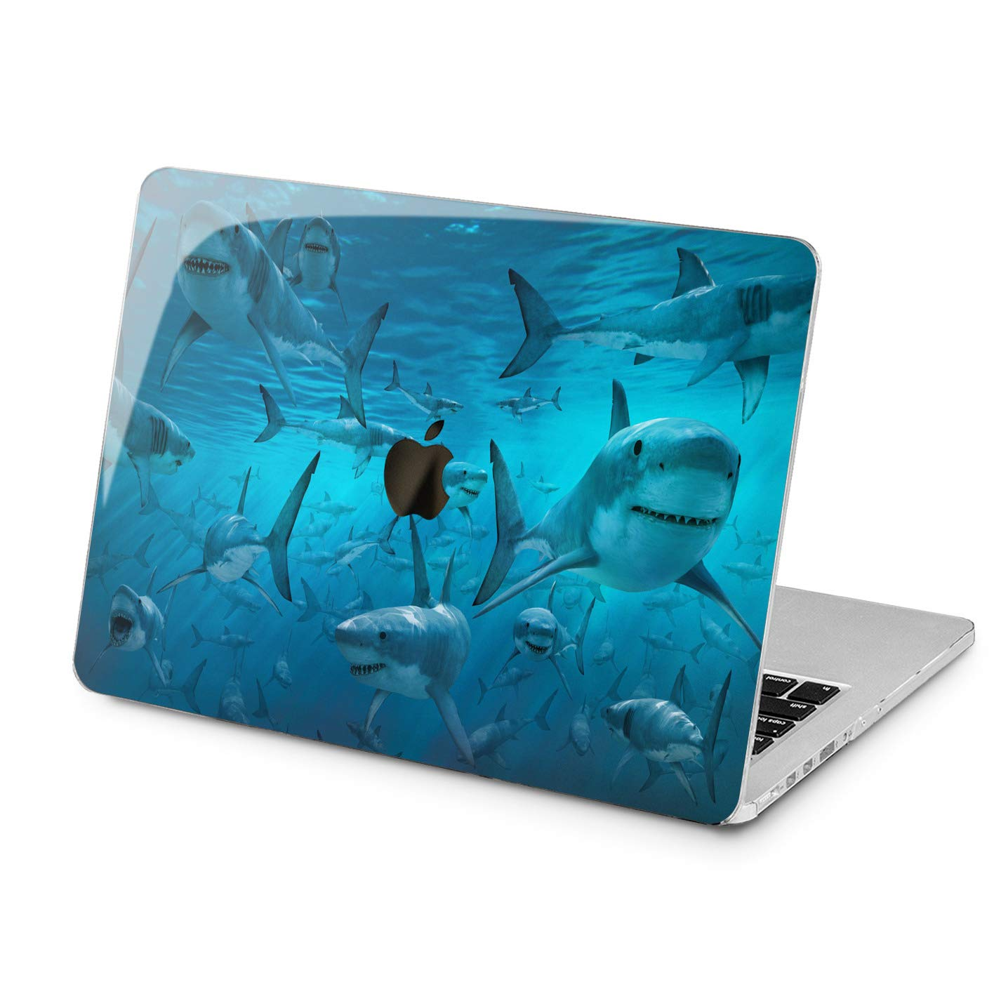 Lex Altern Hard MacBook Pro 15 Case Air 13 inch Mac Retina 12 11 2019 2018 2017 2016 2015 Ocean White Sharks Laptop Apple Fish Cover Deep Design Touch Bar Print Blue Plastic Protective Fish Impact