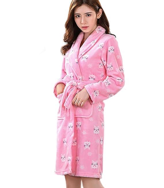 ECHERY Mujer Albornoz Kimono Suave Polar de Coral Batas de SPA Bata Otoño Invierno Pijamas Ropa de Dormir Azul: Amazon.es: Ropa y accesorios
