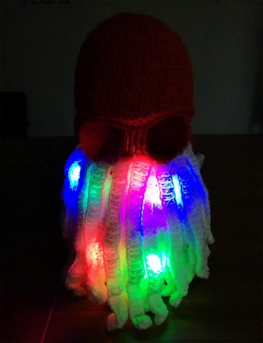 ab519ba302e Luwint Colorful LED Flashing Octopus Beanie Hat - Funny Light Up ...