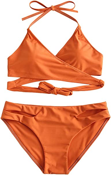 Zaful Women's Sexy Halter Wrap Bikini Cross Cover Padded Swimsuits by Zaful