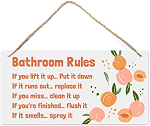 Peach Bathroom Decor, 12?x6? PVC Plastic Wall Decoration Hanging Sign, High Precision Printing, Water and Humidity Proof, Bathroom Rules, Pink Bathroom Decor, Peach Bathroom Accessories, Peach