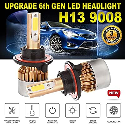 H13 9008 160W LED Headlights Bulbs High/Low Beam 6000K White Plug & Play Super Bright Headlamps – 3 Year Warranty