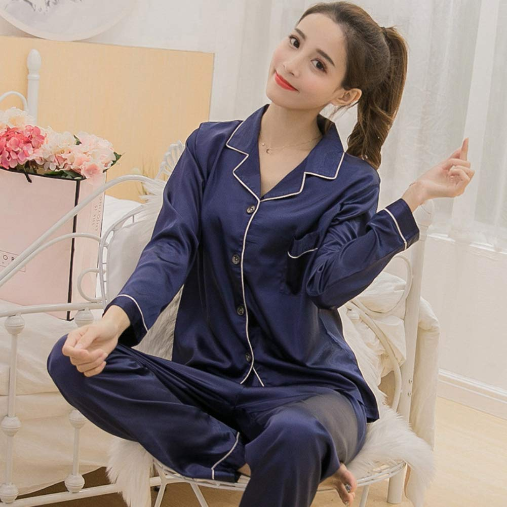 7e633e566815 bigcity Women Solid Color Silky Pajama Set Long Sleeve Top Pants Two-pieces Sleepwear  Pajamas Women S Long-Sleeved Pants Spring And Autumn Solid Color Silk ...