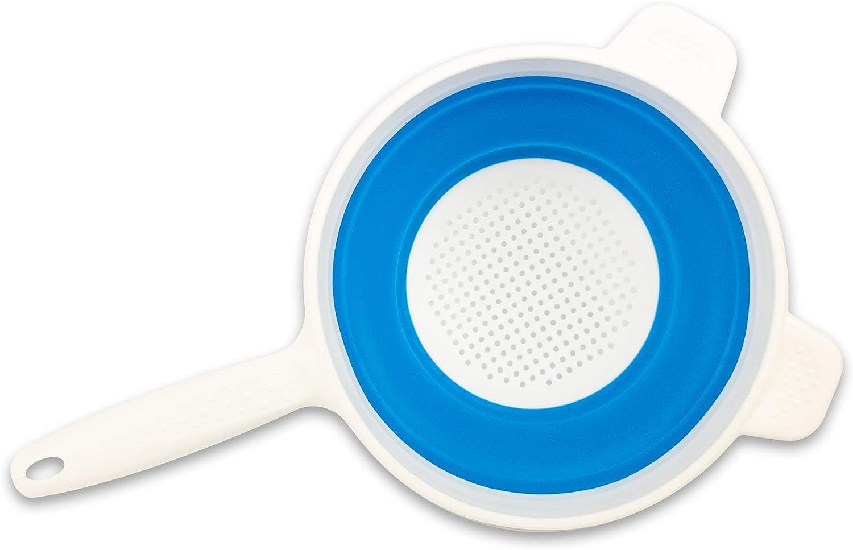 BuyStar Scolapasta in Silicone Pieghevole con Manico in Plastica Salvaspazio Colori Assortiti Diametro 20 cm