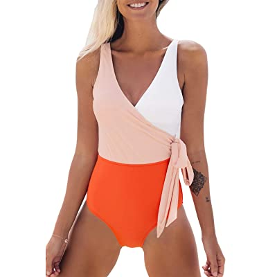 CUPSHE Women's Orange White Bowknot Bathing Suit Padded One Piece Swimsuit at Women's Clothing store