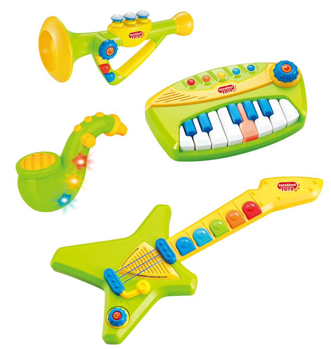 Liberty Imports 4-Piece Band Musical Toy Instruments Playset for Kids - Keyboard, Guitar, Saxophone and Trumpet - with Volume Control (Green)