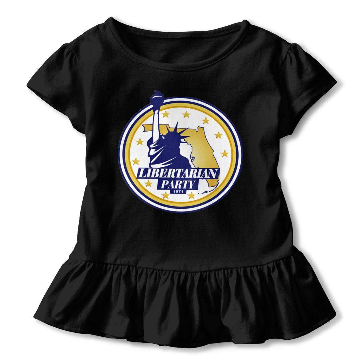 United States Libertarian Party Shirt Printed Baby Girls Flounced T Shirts Shirt Dress for 2-6T Kids Girls