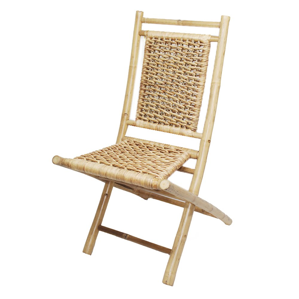 Heather Ann Creations Bamboo Folding Chairs with Open Link Water Hyacinth Weave Pack of 2, Natural