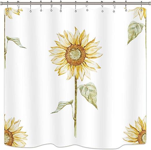 72x72/'/' Nature Spring Flowers Bathroom Shower Curtain Fabric Waterproof 12 Hooks