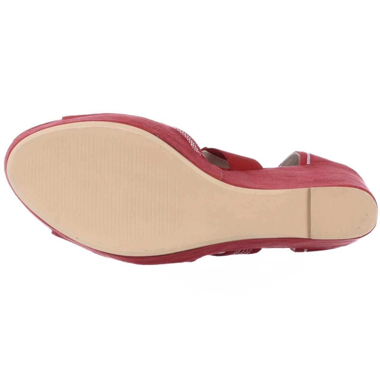 e02630ab03d Amazon.com  June Ambrose 408346 Embroidered Wedge Platform Sandals - Red