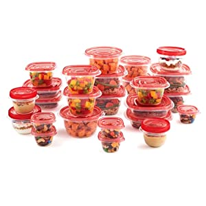 Rubbermaid Take Alongs 50-Piece Food Storage Container Set, (Red)