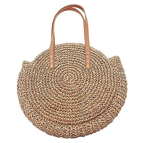 Women Circle Beach Bag Outdoor Straw Braided Shoulder Bag Multi-Purpose Sling Bag Crossbody Bag for Shopping Travel Camping