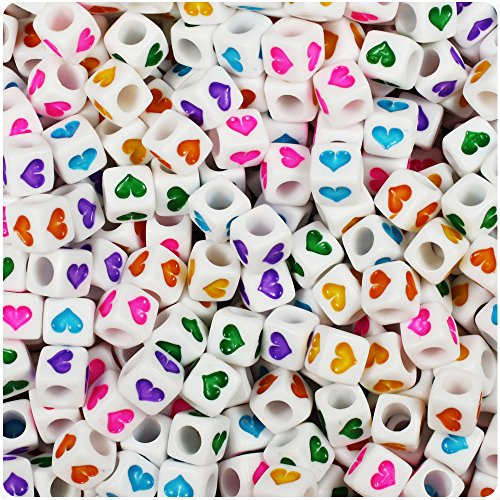 BEADTIN White Opaque w/Colored Hearts 6mm Cube Pony Beads (100pc)