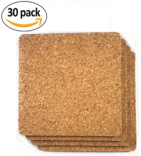Cork Drink Coasters - Blank Reusable Absorbent Eco-friendly DIY Tile Craft Board -Protect Furniture From Damage and Water Rings Restaurant Cafe Supplies (1/8
