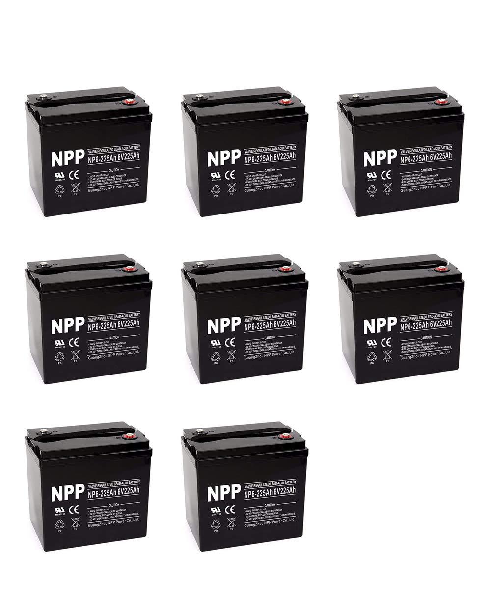 NPP NP6-225Ah 6V 225 Amp AGM Deep Cycle Battery Camper Golf Cart RV Boat Solar Wind Power /(8 Pack)