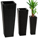 TecTake 3 x Flower pot set rattan style tube planter + 3 inserts - different colours - (Black | no. 401642)