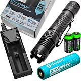 EdisonBright Olight M1X Striker Cree XM-L2 1000 Lumen LED Tactical Flashlight, Olight 18650 Li-ion rechargeable battery, charger with two CR123A Lithium Batteries