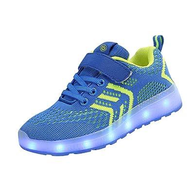 8131abc362004 Tenthree Chaussure Lumineuse Chaussures Rechargeable - Clignotant Baskets  Enfant LED Illuminer USB Entraîneurs Maille Absorption des