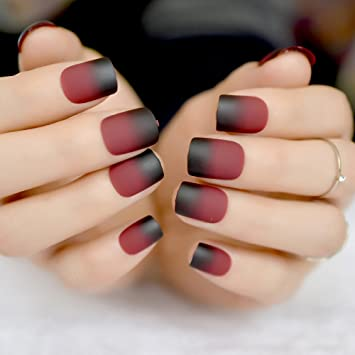 Amazon.com : Gradient French Matte Fake Claret-Red Wine Black Frosted False Nail Tips Square Top Nails Art For Bride Party Wear Z858 : Beauty