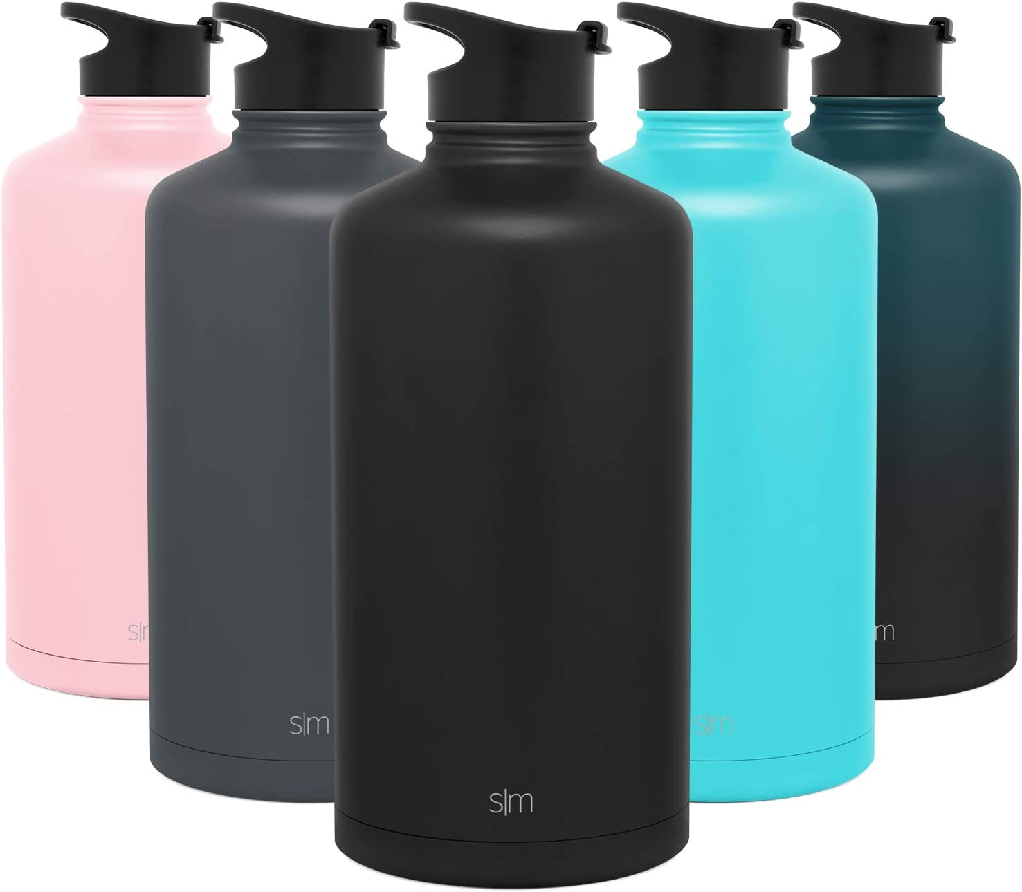 Simple Modern 1 Gallon Summit Sports Water Bottle - 128 Ounce Jug Stainless Steel Flask +2 Lids - Wide Mouth Double Wall Vacuum Insulated Leakproof - Midnight Black
