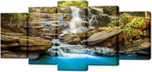 Biuteawal Rocky Waterfall Paintings Canvas Wall Art for Living Room 5 Pieces Modern Nature Landscape Picture Posters and Prints Home Office Decorations Ready to Hang
