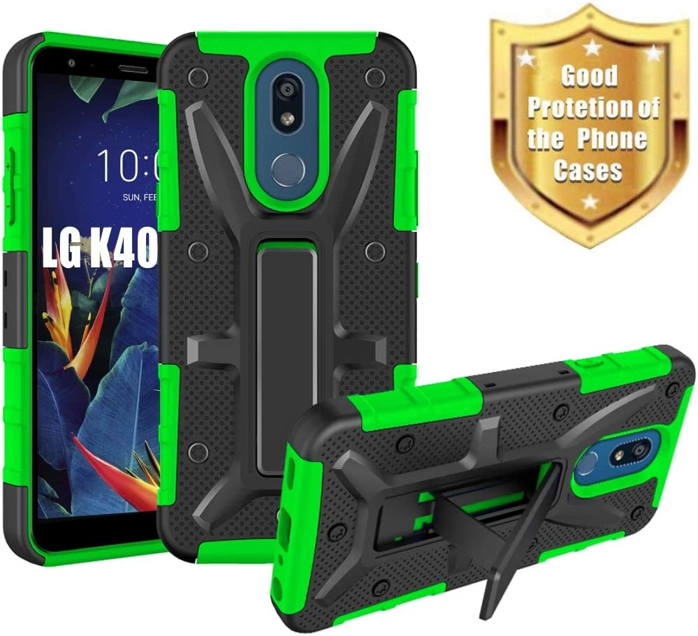 """HNHYGETE Designed for LG K40/LG X4 (2019)/K12+/K12 Plus/LMX420 Case,Dual Layer Heavy Duty Non Slip Shockproof Bumper Rugged Support Protective Cover 5.7"""" (Green)"""