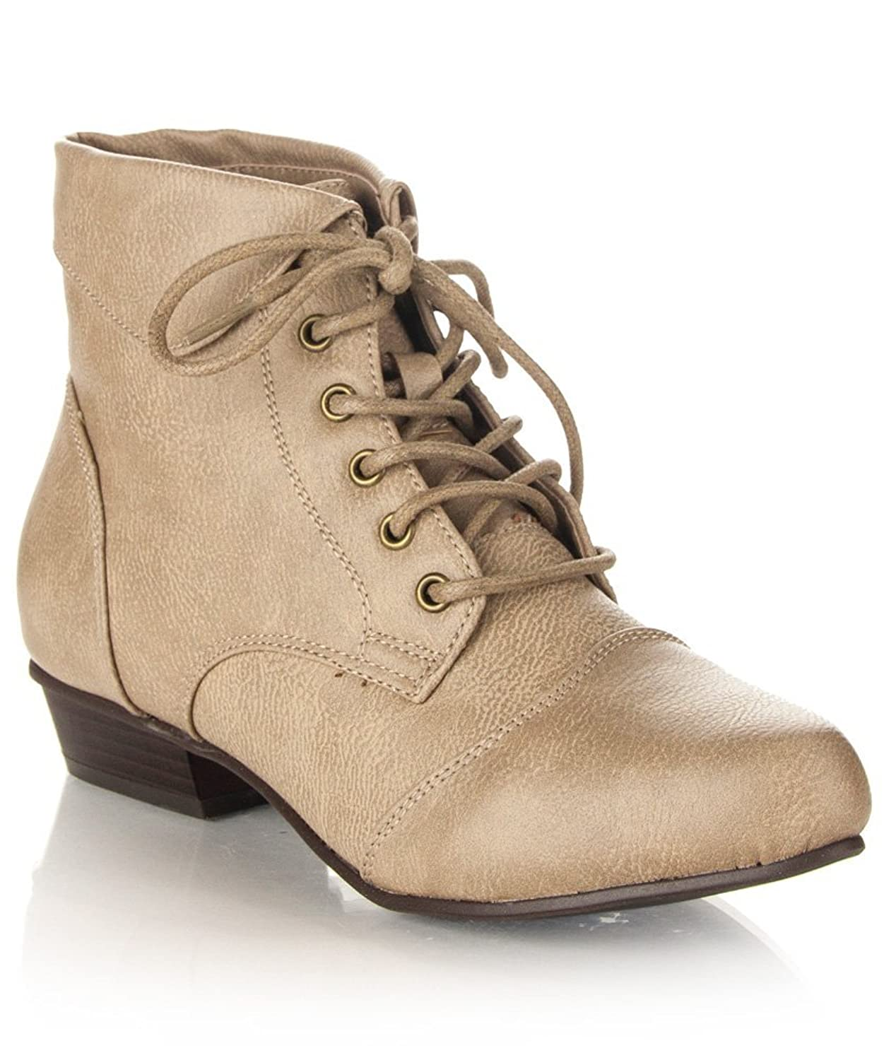 Ladies Victorian Boots & Shoes Womens Pointy Toe Oxford Low Chunky Heel Lace Up Ankle Bootie Boots With Collar Flip Over $24.99 AT vintagedancer.com