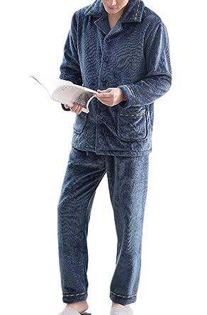 DAFREW Pijamas de los hombres, franela de invierno gruesa cálida muebles para el hogar,