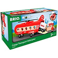 Brio 33886 Vehicle - Cargo Transport Helicopter, 8 pcs Train Accessory,Red