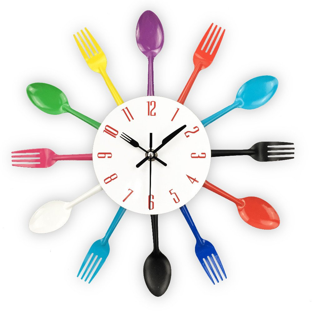 Amazon.com : Cutlery Design Wall Clock Metal Colorful Knife Fork ...