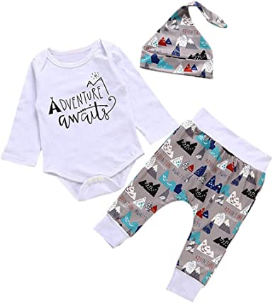 Newborn Kids Baby Boys Girl Outfits Clothes Romper Tops+Print Long Pants+Hat Set
