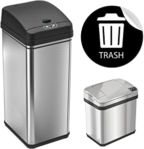 """iTouchless 13 Gallon and 2.5 Gallon Automatic Touchless Sensor Kitchen Cans with Odor Control System, Stainless Steel, Includes 1 Waterproof Reusable """"TRASH"""" Vinyl Sticker"""