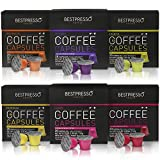 Nespresso Compatible Gourmet Coffee Capsules - 120 Pod Variety Pack - for Original Line Nespresso Machine - Bestpresso Brand Certified Genuine Espress