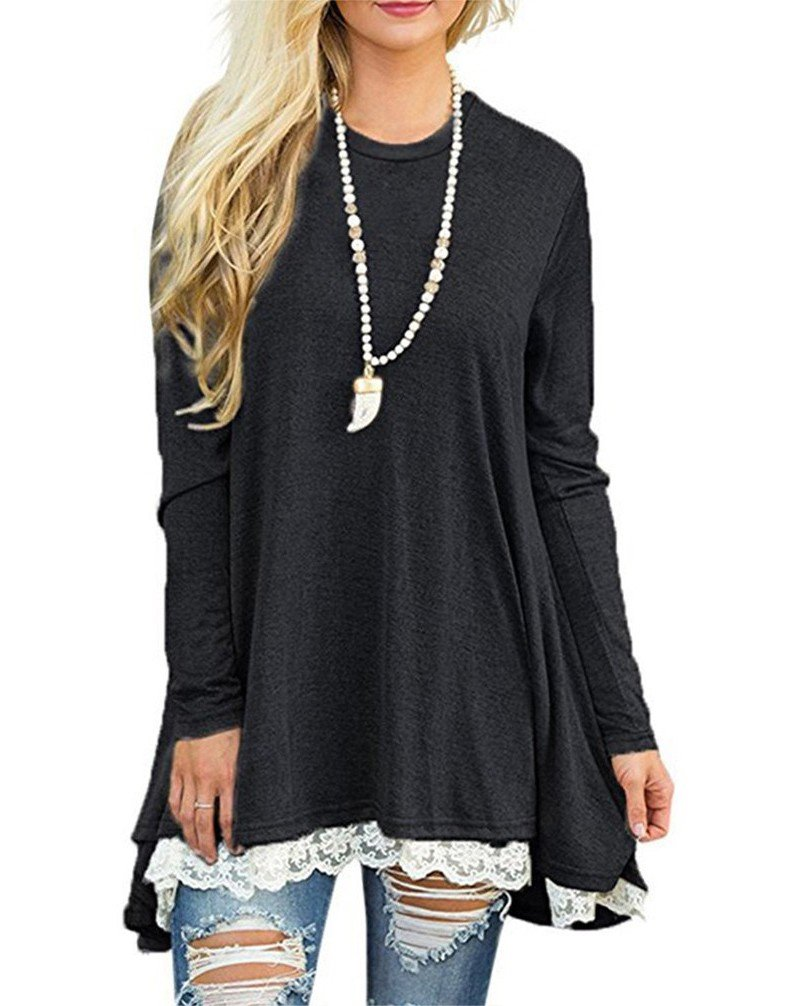 HHLJ Women's Scoop Neck A-Line Solid Color Lace Pullover Tunic Tops Dress Blouse T-Shirt Shirts (Black, XL)