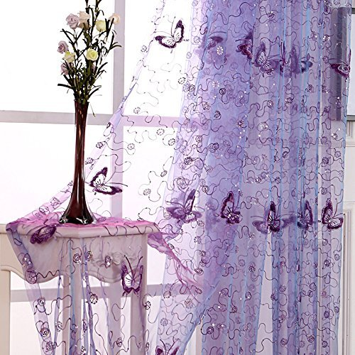 Butterfly Embroidered Sheer Tulle Curtains Purple Door Drape Fashion Sequin Window Screening Clear Polyester Organza Transparent Organdy Voile Rod Pocket Top W39 x L63 inch 1 Pair (2 Panels) ZZCZZC ()
