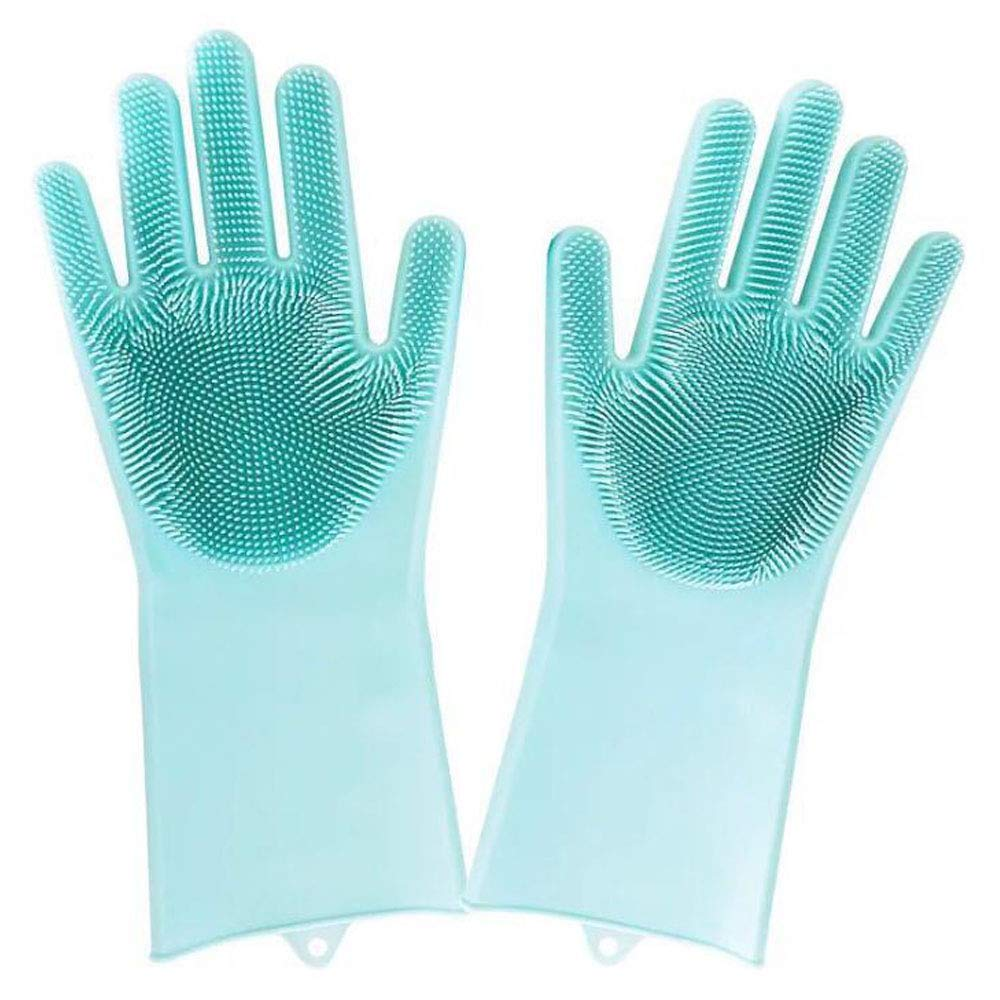 1 Pair Silicone Kitchen Multifunctional Cleaning Gloves Dusting Dish Washing Pet Care Grooming Hair Gloves Household Tools Helper (Green) YFD