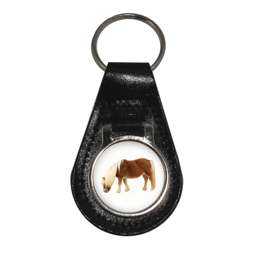 Shetland Pony Image Black Leather Keyring in Gift Box