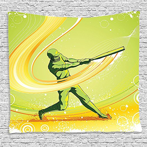 SCOCICI Supersoft Fleece Throw Blanket Sports Decor Collection Baseball Player Hits the Ball Batter Athlete Pitcher League Team Man Artsy Illustration Green Yellow 59 x 59 Inches