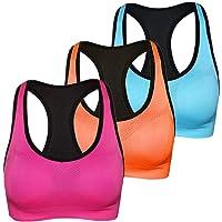 811a869c31bf5 Women s Sports Bra Pack Wireless Padded Sports Bra Racerback Middle High  Impact Fitness Workout Yoga Bra