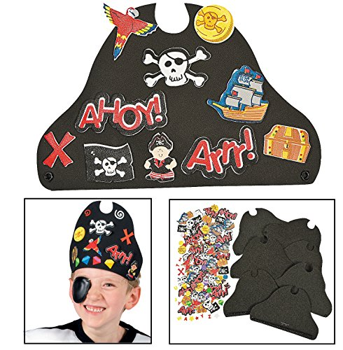 Sticker Treasure - 12 ~ Foam Pirate Hats with Stickers ~ Includes Vinyl Expandable Coil Bands and 426 Self-adhesive Foam Shapes ~ Approx. 9 1/2