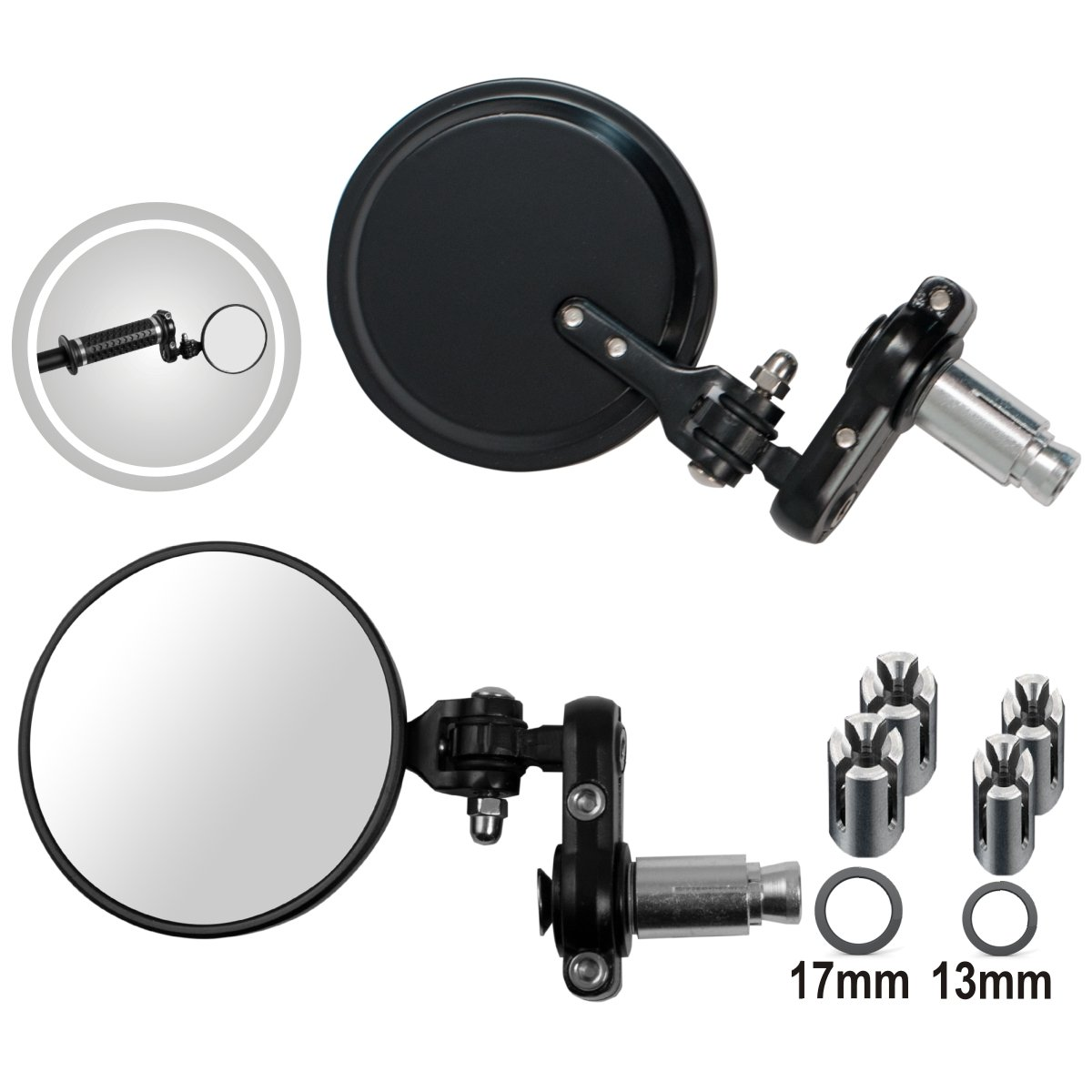 A-Pro Mirrors custom Style Rearview Motorcycle Motorbike Handlebar End Black 5180000073947
