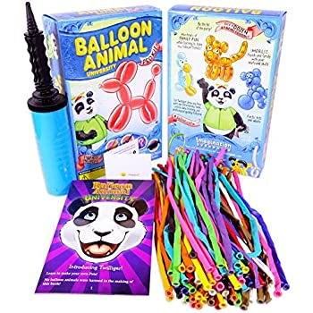 Balloon Animal University PRO Kit with QUALATEX balloons! Now with MORE creations! 100ct Custom Colors Asst, Dbl-Action Air Pump, Book, and videos. Learn to Make Balloon Animals Kit Starter Set.