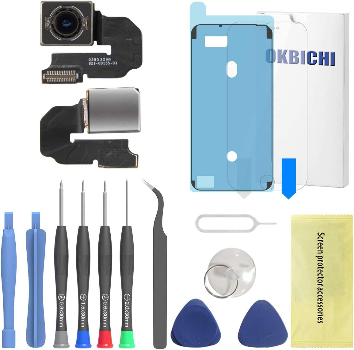 OKBICHI Rear Camera for iPhone 6S Plus (All Carriers) Back Camera Module Flex Cable Replacement - Repair Tools with Screen Protector and Waterproof Seal
