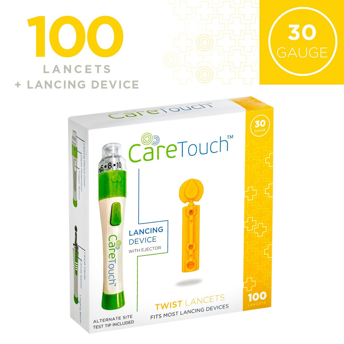 Care Touch 30 gauge Lancets and Lancing Device (100 Lancets + Lancing Device)