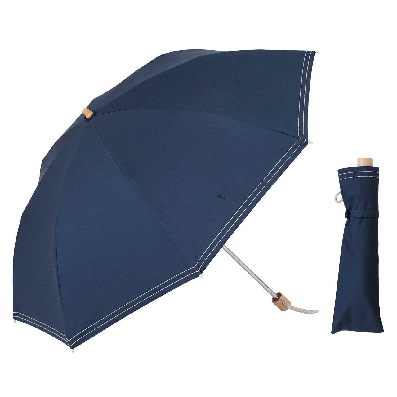 UVカット 遮光折傘 クールプラス ステッチ 晴雨兼用 50cm 日傘 ラミネート生地【LIEBEN-0527】 (ネイビー) B07BKWKFXC ネイビー ネイビー