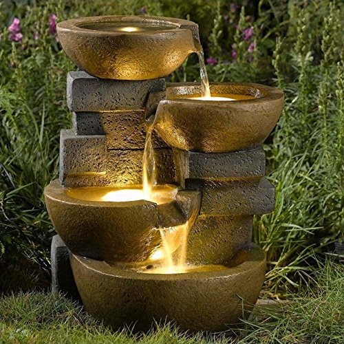 Jeco Zen Tiered Pots Fountain with LED Light