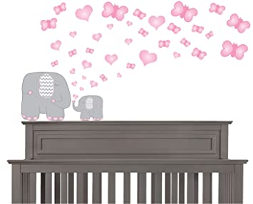 Amazoncom Pink And Grey Elephant Wall Decals  Elephants Wall - Elephant wall decal